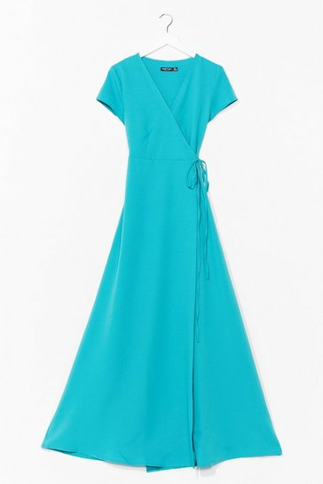 Teal Let's Wrap This Up Belted Maxi Dress