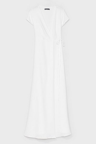White Let's Wrap This Up Belted Maxi Dress