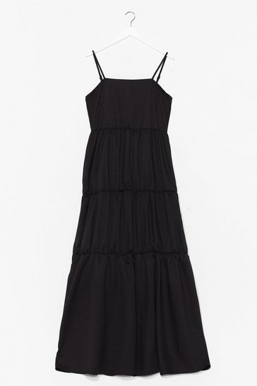 Black Come Over Tier Maxi Dress