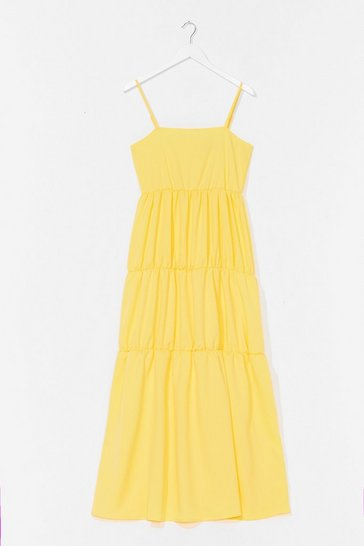 Lemon Come Over Tier Maxi Dress