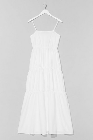 White Come Over Tier Maxi Dress