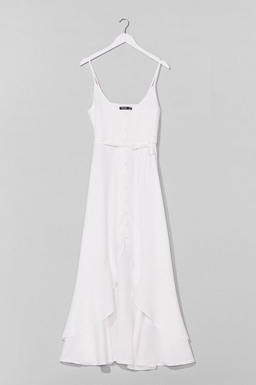 White Slow Dance Belted Midi Dress