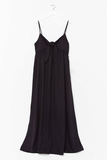 Black Night Moves Tie Midi Dress
