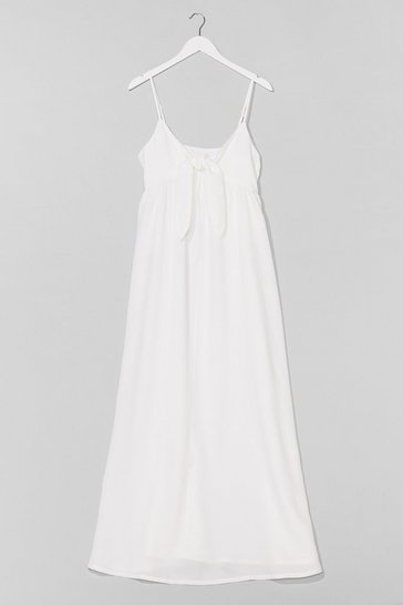 White Night Moves Tie Midi Dress