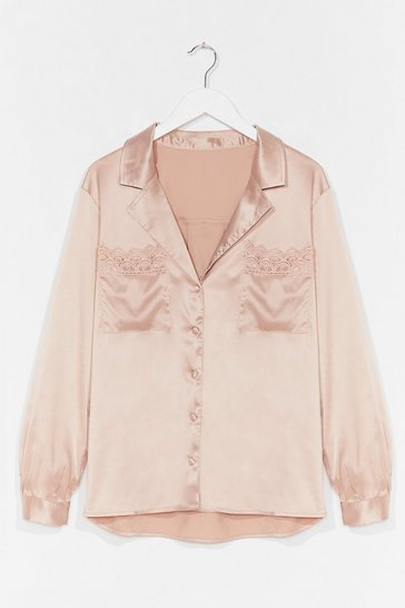 Stone Lace Closed Satin Broderie Anglaise Shirt