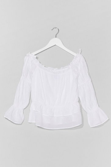 White Week Off-the-Shoulder Relaxed Top
