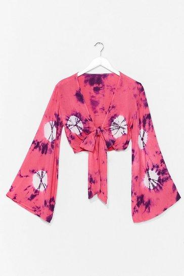 Pink Flare Sleeve Printed Crop Blouse