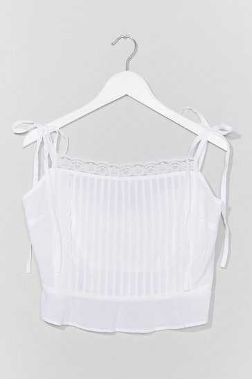 White Lacing the Facts Tie Crop Top