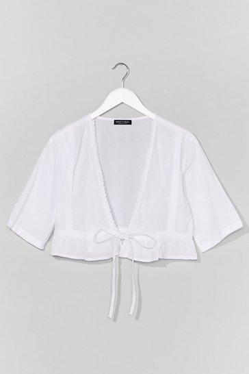 White Tie Front Crop Blouse