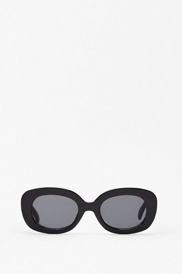 Black Hall of Frame Thick Rim Rounded Sunglasses
