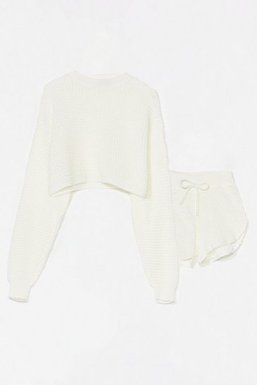 Cream Knit's End Sweater and Shorts Lounge Set