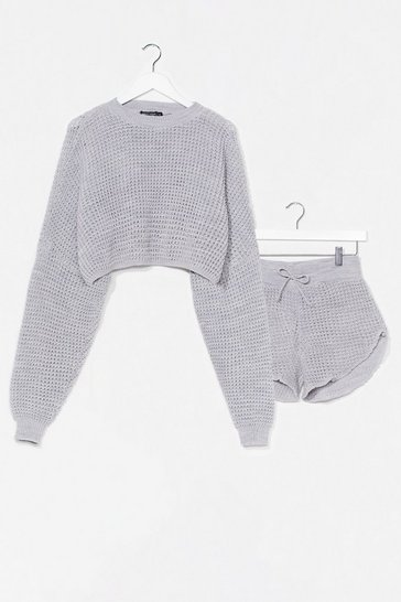 Grey Knit's End Sweater and Shorts Lounge Set