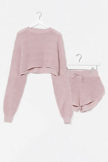 Nude Knit's End Sweater and Shorts Lounge Set