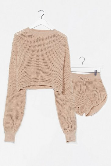 Oatmeal Knit's End Sweater and Shorts Lounge Set