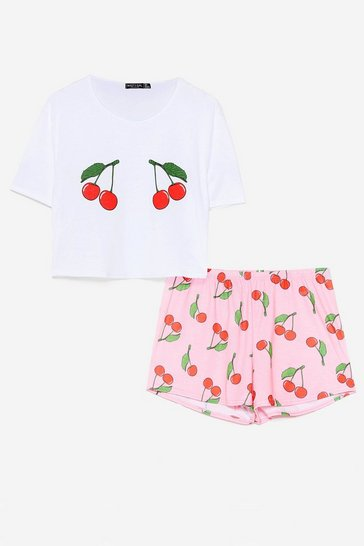 Pink We're Cherry Tired Tee and Shorts Pajama Set