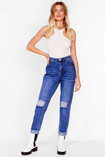 Mid blue Rough and Ready Distressed Mom Jeans