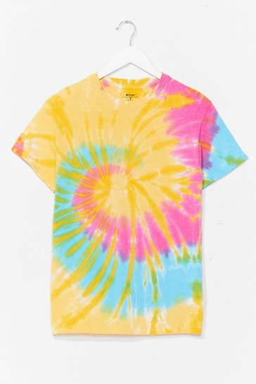 Yellow Good Vibes Tie Dye Relaxed Tee