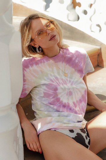 Pink Good Vibes Tie Dye Relaxed Tee