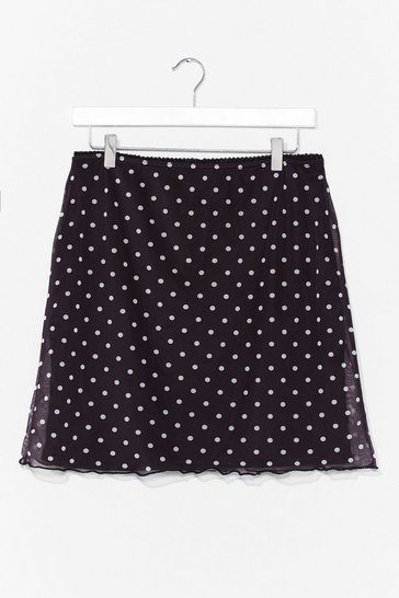 Black Spot Meshing Around Plus Mini Skirt