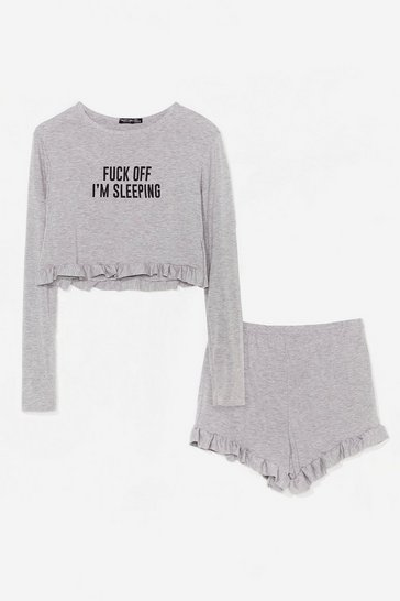 Grey marl Fuck Off I'm Sleeping Ruffle Shorts Pyjama Set