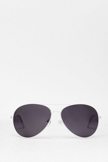 White Sunshine On My Mind Aviator Sunglasses