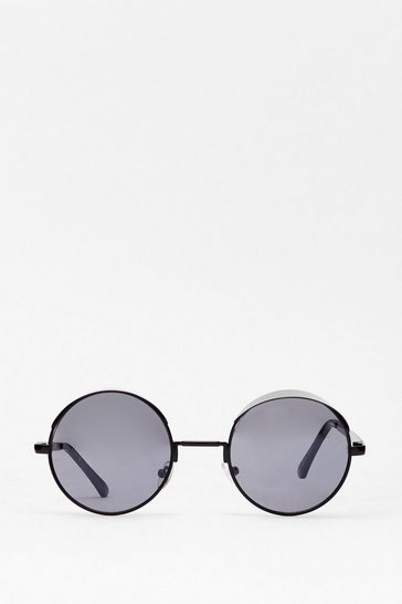 Black What Goes Around Frameless Round Sunglasses