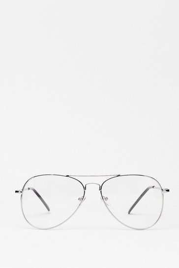 Silver Eyein' You Up Clear Aviator Glasses