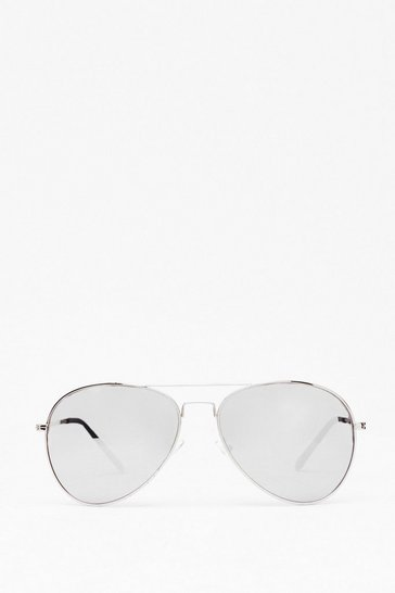 Silver Sunshine On My Mind Aviator Sunglasses