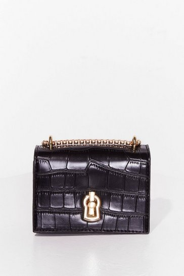 Black WANT Croc It Off Faux Leather Crossbody Bag