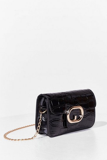 Black WANT Croc On Faux Leather Crossbody Bag