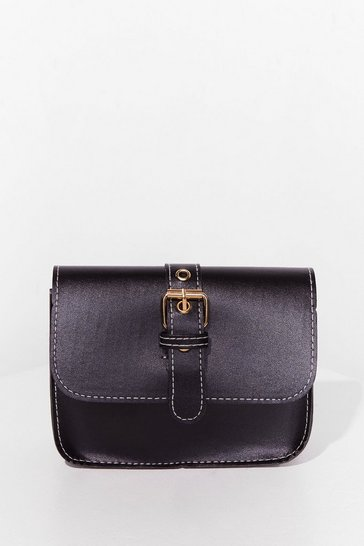 Black WANT Buck-le Off Faux Leather Crossbody Bag