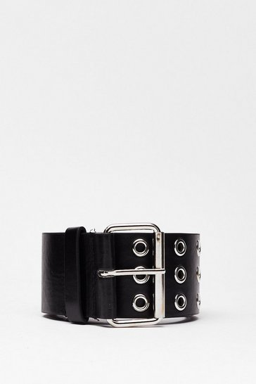 Black Eyelet You Go Faux Leather Belt