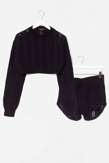 Black What's Your Pointelle Knit Shorts Lounge Set