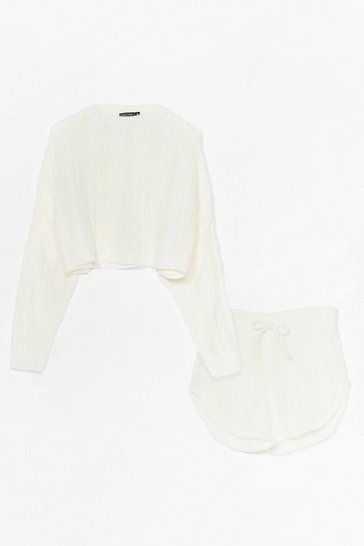 Cream Pointelle Knitted Shorts Loungewear Set