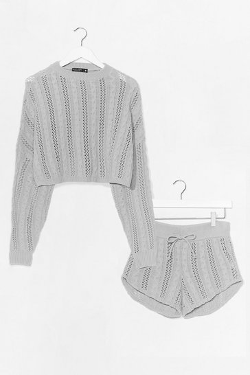 Grey What's Your Pointelle Knit Shorts Lounge Set