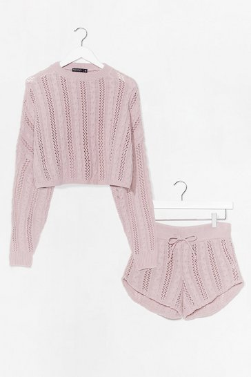 Nude What's Your Pointelle Knit Shorts Lounge Set