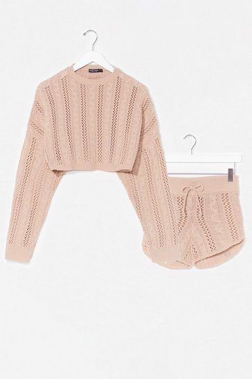 Oatmeal What's Your Pointelle Knit Shorts Lounge Set