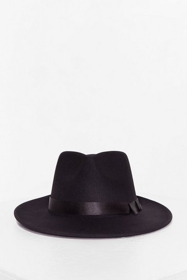 Black Faux Wool Wide Brim Fedora Hat