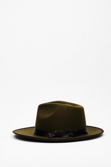 Khaki Faux Wool Wide Brim Fedora Hat