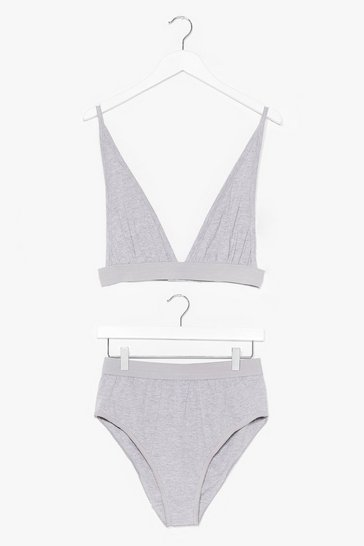 Grey marl It Takes Two Baby Bralette and Panty Set