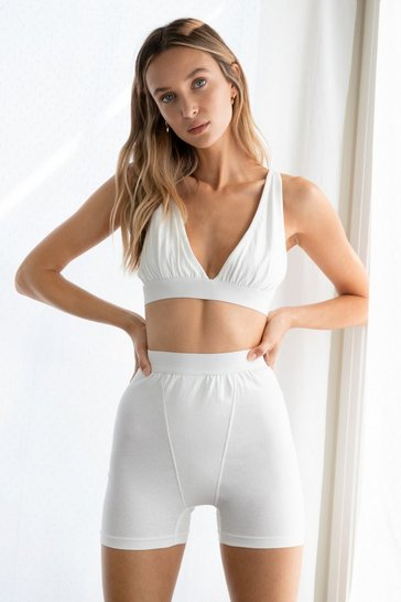 White Me Time Bralette and Biker Shorts Set