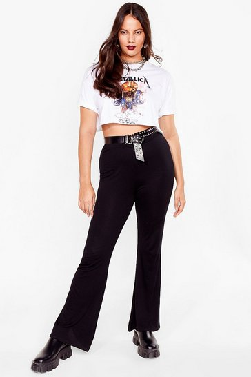 Black Plus Size Jersey High Waisted flares
