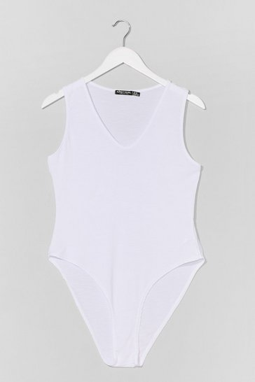White Plus Size Jersey V Neck Bodysuit