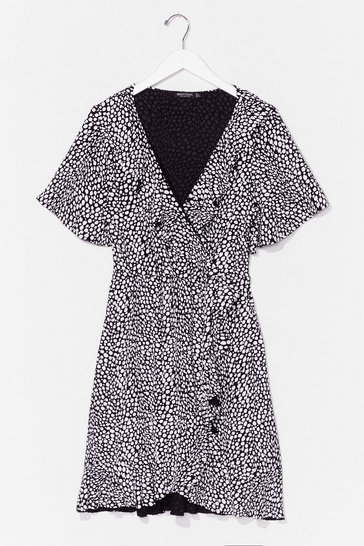 Black Plus Size Dalmatian Mini Wrap Dress