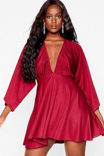 Burgundy Love Don't Cost a Wing Plus Mini Dress