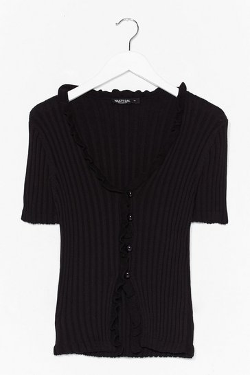 Black Knitted Out Ruffle Button-Down Cardigan