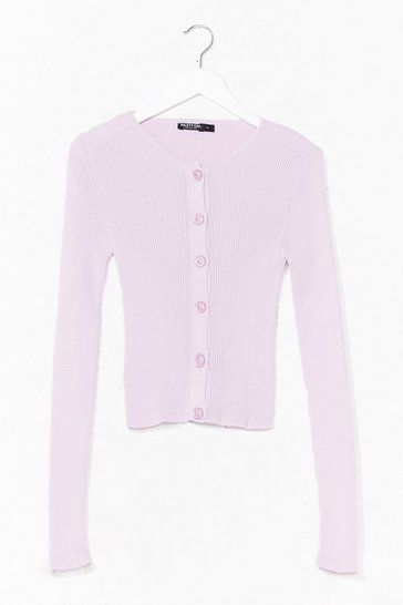 Lilac Don't Back Button-Down Ribbed Knit Cardigan