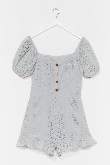 Light blue Hole Lotta Lovin' Broderie Puff Sleeve Romper