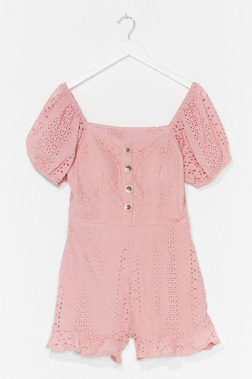 Pink Hole Lotta Lovin' Broderie Puff Sleeve Playsuit