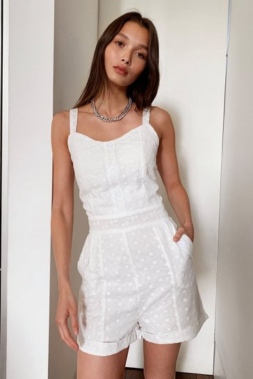 White Sew Much Love Broderie Anglaise Playsuit